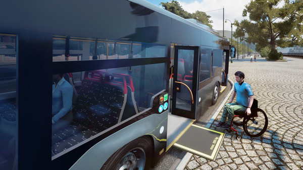 Bus Simulator 18:  Türen werden per Knopfdruck geöffnet, der Bus wird abgesenkt