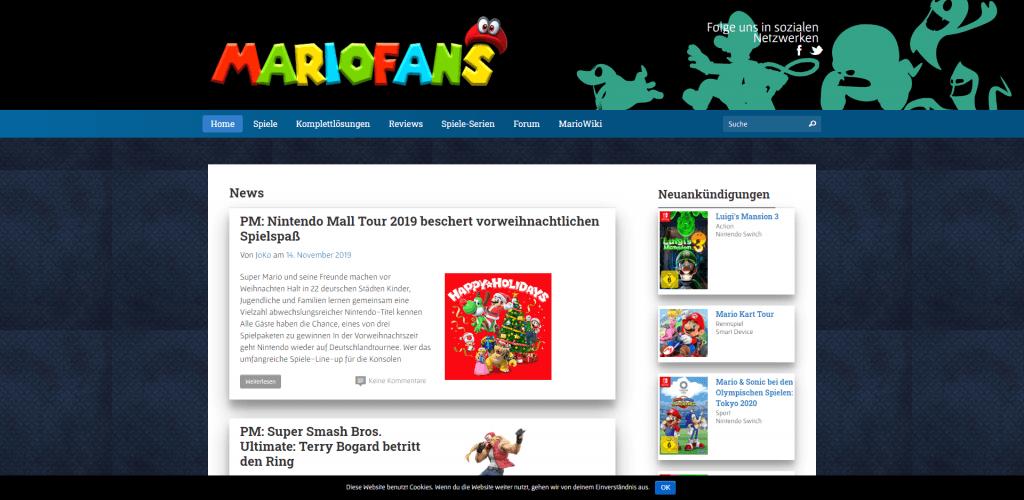 Screenshot Homepage Mariofans