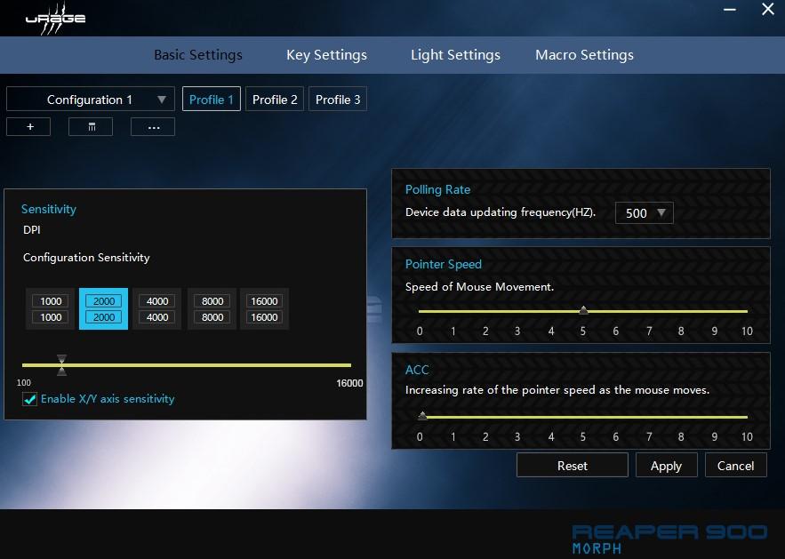 Urage's Software Lösung um die Reaper 900 auf seine Bedürfnisse anzupassen.
