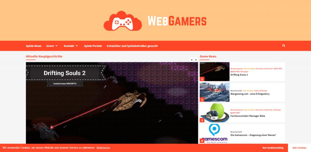 Screenshot Homepage WebGamers