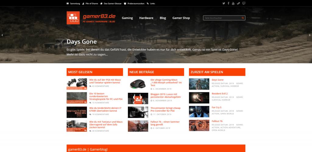 Screenshot Homepage Gamer83