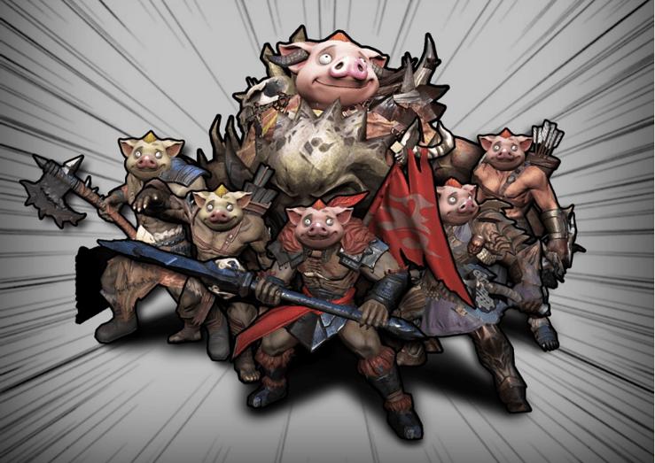 Eventgegner mit Schweinemasken
