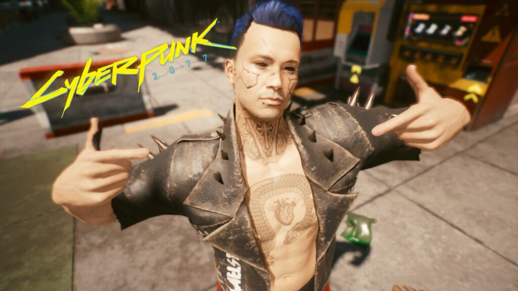 """Personalisierte Version meines Charakters """"V"""" mit blauen Haaren, schwarzen Augen, Cyberware, Tattoos und Piercings"""