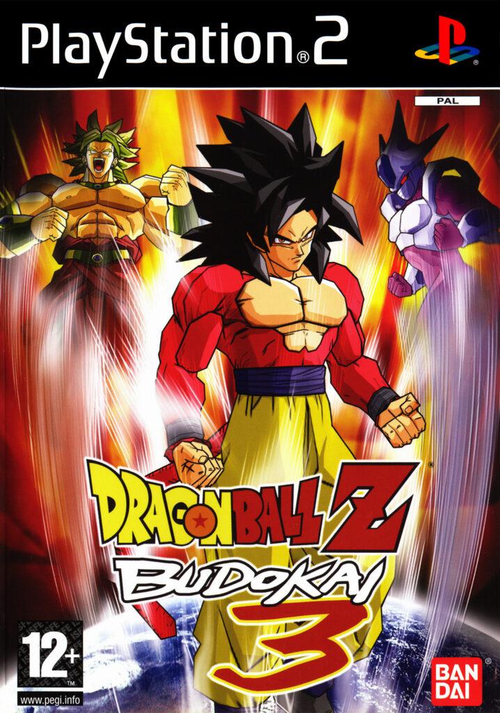 Logo von Budokai 3 mit SSJ4 Goku, Broly & Cooler